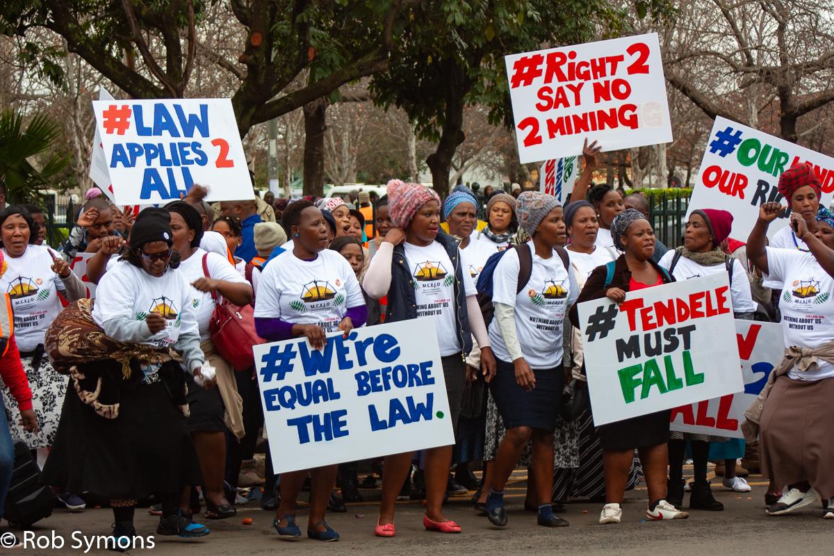 MCEJO members protest outside the Pietermaritzburg Supreme Court